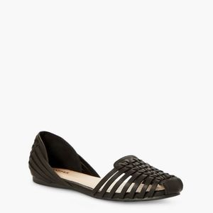 JustFab Black Woven Flat Shoes Size 10